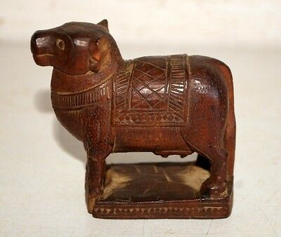 1800's Antique Indian Old Rare Wooden Hand Carved South Indian Cow Nandi Figure