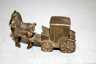 Antique Indian Old Rare Brass Made Decorative Beautiful Horse Cart Figurine