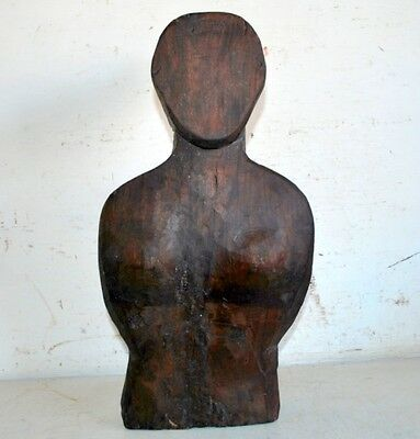 Woman Figure Antique Old Wooden Hand Carved Rare Statue