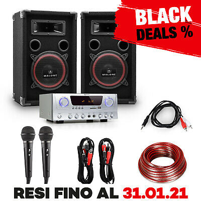 Kit Completo Impianto Karaoke Audio Stereo Dj Pa Amplificatore Casse 1000W Party