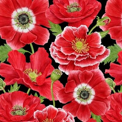 "Fabric Fat Quarter Poppy Perfection Large Poppies Print Fabric - 1194-98 20""x22"""