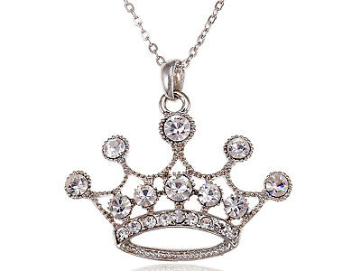King Queen Clear Crystal Rhinestone Crown Royal LJH Costume Pendant Necklace