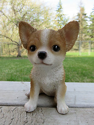"""Chihuahua Dog Puppy Figurine Statue Resin Pet 6.5"""" H Canine Light Brown"""