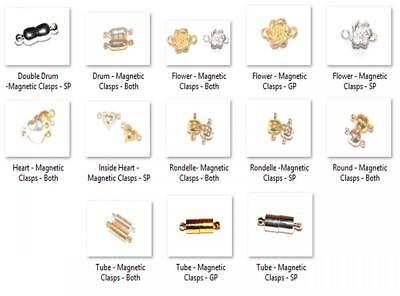25 SILVER or GOLD PLATED MAGNETIC CLASPS - VARIOUS DESIGNS AVAILABLE
