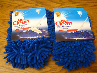 2 Mr. Clean Ultra Micorfiber Flat Mop Refill  446686 Use Wet or Dry