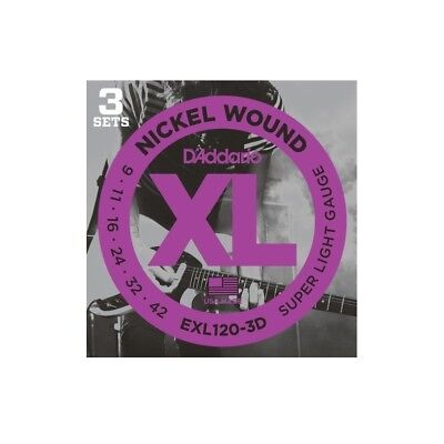 D'Addario EXL120-3D Nickel Wound Electric Guitar Strings, Super Light, 9-42, ...