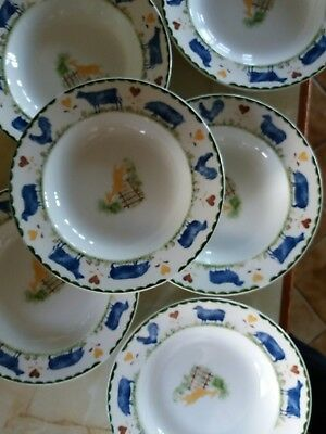 Woods Jacks Farm 6 rimmed soup bowls with no sign of use