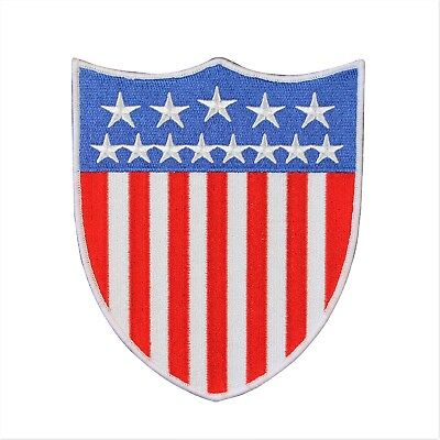 Large American National Flag Shield Patch USA Badge Embroidered Iron On Applique