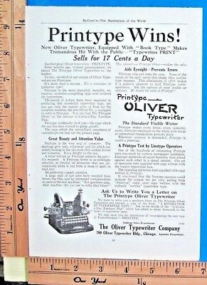 1911 OLIVER New Printype typewriter with BOOK TYPE LETTERS Vtg Print Ad 9148