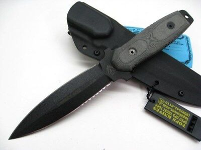 TOPS Black Micarta RANGER'S EDGE Straight Fixed Blade Knife + Sheath! RE3010