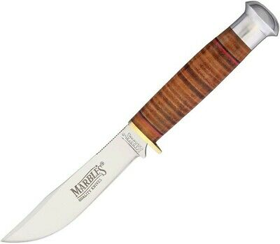 Marbles MR302 Brown Leather Straight Stainless Fixed Blade Knife + Sheath