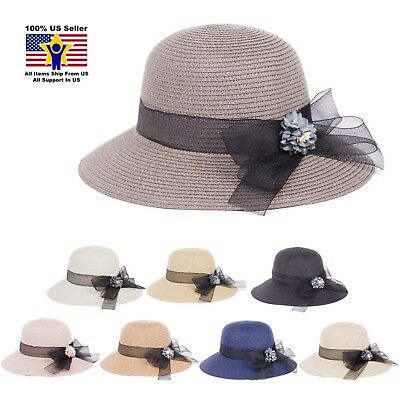 Hots-Wing Blue Flower Black Bow Paper Golf Tennis Beach Women s Sun Hat HY- e900d560db7f
