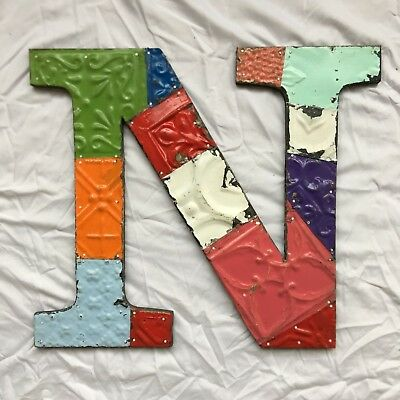 """Large Antique Tin Ceiling Wrapped 16"""" Letter 'N' Patchwork  Multi Color 91-18"""