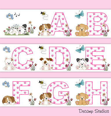 Pink Puppy Nursery Border Decals Alphabet Abc Wall Art Baby Girl Floral Decor