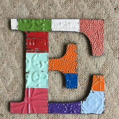 "Antique Tin Ceiling Wrapped 16"" Letter 'E' Patchwork Mosaic Multi color 93-18"