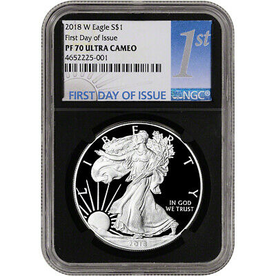 2018-W American Silver Eagle Proof - NGC PF70 UCAM First Day 1st Label Black