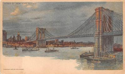 New York Brooklyn Bridge At Night Chicago Sunday American Newspaper Postcard