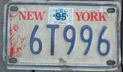 NEW YORK Statute Vintage Liberty 1995 Motorcycle Cycle License plate  6 T 996  ^