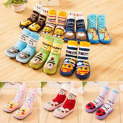KQ_ Kid's Baby Infant Cartoon Shoes Indoor Faux Leather Sole Non-Slip Thick Sock