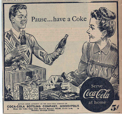1946 newspaper ad for Coca-Cola - Wrapping Christmas presents, drinking Coke