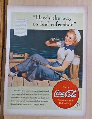 1940 magazine ad for Coca-Cola soda - sailor girl enjoys a Coke on the dock