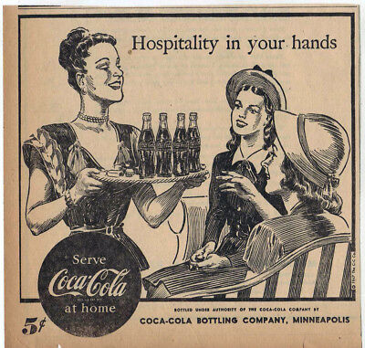 1947 newspaper ad for Coca-Cola - Hostess serves Coke to women