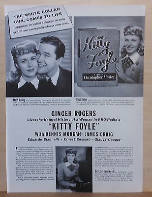 "1940 magazine ad for movie ""Kitty Foyle"" - Ginger Rogers, Dennis Morgan"