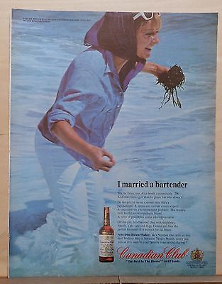 1967 magazine ad for Canadian Club Whiskey - I Married A Bartender