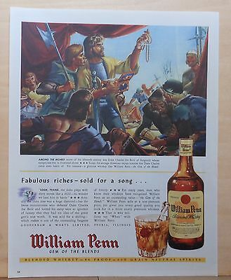 1945 magazine ad for William Penn Whiskey, Swiss loot Duke Charles the Bold tent