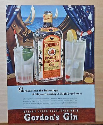 1940 magazine ad for Gordon's Gin - Cocktails with nautical flair, High Proof