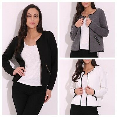 AU8-24 Women Long Sleeve Coat Jacket Zip Blazer Suit Office Cardigan Outwear Top