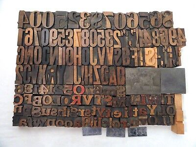 Antique Wood Type Letterpress Letters, Numbers 156 Printers Blocks, 2 Pictures