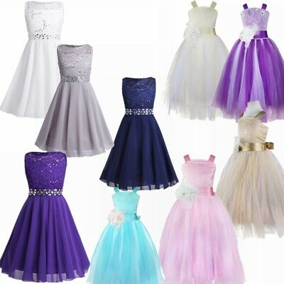 Flower Girl Dress Princess Graduation Pageant Formal Wedding Bridesmaid Costumes