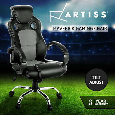 Racing Office Chair Sport Executive Computer Gaming Deluxe PU Leather Mesh Grey