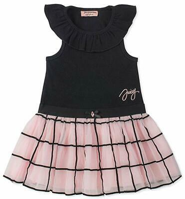 Juicy Couture Big Girls Black & Pink S/S Dress Size 7 8/10 12 $75