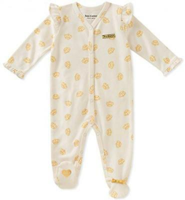 Juicy Couture Infant Girls Vanilla & Gold Crown Coverall Size 0/3M 3/6M 6/9M