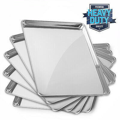 New Commercial Grade Aluminum Baking Sheet Assorted Sizes - 6 Pans