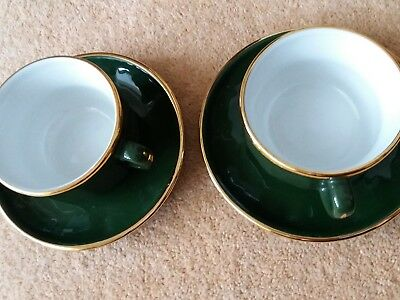 APILCO GREEN/ Gold Cups, Saucers and Plates x 8 - £5.00   PicClick UK