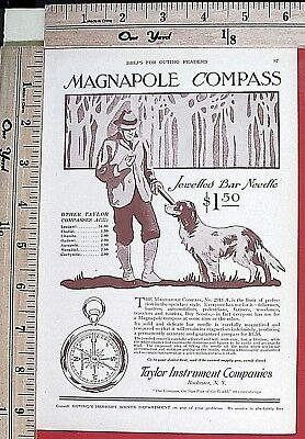 1916 TAYLOR INSTRUMENT Magnapole compass BIRD HUNTING SAFETY Vtg Print Ad 6175