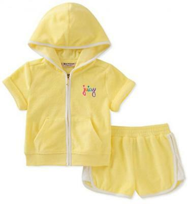Juicy Couture Big Girls Yellow 2pc Short Set Size 7 8/10 12 $80