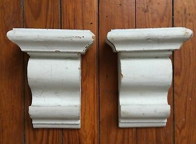 1910 Antique Pair(2) Wood Corbels Brackets Victorian Gingerbread White 103-18