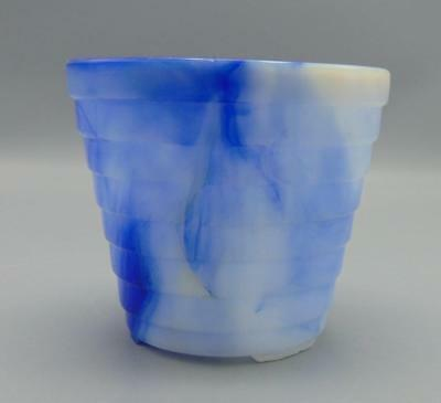 "Akro Agate Blue Marbled Slag Glass 4"" Planter Stepped/Layers/Ribbed"