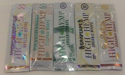 HIGH HEMP 100% ORGANIC VEGAN WRAPS 5 PACKS VARIETY ONE OF EACH FLAVOR 10 wraps