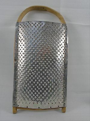 Large Old Vintage Handmade Wood & Punched Tin Metal Grater Gritter Patina Folky
