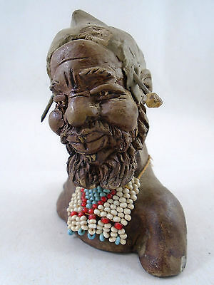 African Zimba Swazi Man Clay Fired Figurine Decorated African Tribal