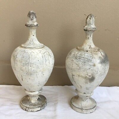 Two(2) 1890's Antique Victorian Finials Shabby White Chic Architectural 109-18
