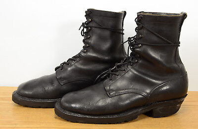Vtg Made in USA Mens Sz 11 Leather Laced Up Lineman Logger Work Biker Boots