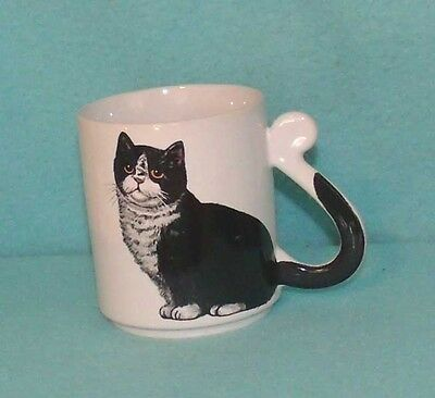 Vintage Black and White Cat Mug with Tail Handle - Made in Japan