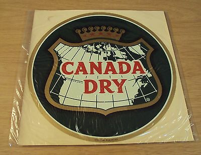 "LARGE 10"" DOUBLE Face VINTAGE Decal~""CANADA DRY"" Ginger Ale~"