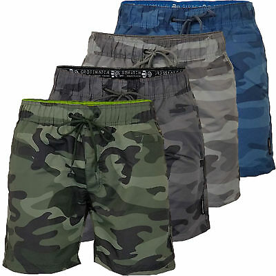 Mens Crosshatch Army Camo Swim Shorts Camouflage Quick Dry Knee Length Summer